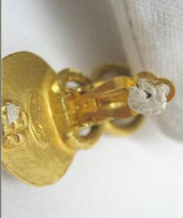 SOLD OUT: Vintage CHANEL bell shape dangling earrings with faux pearls and golden CC mark. Chanel earrings that dangle