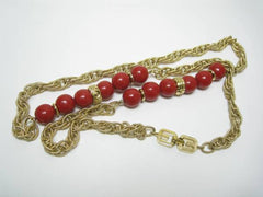 SOLD OUT: Vintage Givenchy golden chain and red color balls long necklace and earring set, Gorgeous statement jewelry set back in the era.
