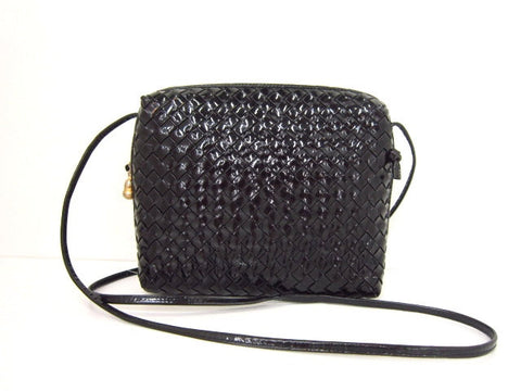 SOLD OUT: Vintage Bottega Veneta black enamel leather intreciato shoulder purse. Unique piece you must have.