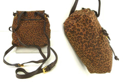 Vintage Bottega Veneta brown leopard mini backpack with leather trimming. One of the most popular Bottega style back in the era