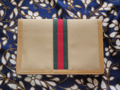 SOLD OUT: MINT. Vintage Gucci brown, beige sherry webbing canvas wallet,bill purse, checkbook case. Unisex. Gucci Accessory Collection.