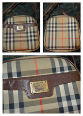 SOLD OUT: Vintage Burberry nova check and leather combination shoulder bag with gold tone logo plate at front