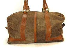 SOLD OUT: Vintage LANVIN brown logo printed suede leather duffle bag. Great masterpiece for all generations. unisex. Must Have