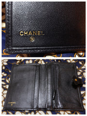 SOLD OUT: Vintage CHANEL goatskin black wallet with mini CC motif. Classic style that would never go out of style.