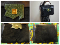 80's Vintage HERMES business portfolio bag, president in calf, suede, lizard. Stamp R, 1988. Limited edition back in the era. Unisex