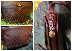80's vintage Celine shoulder purse in bordeaux, burgundy leather with iconic blaison macadam print all over. riri zipper.