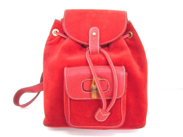 7f213171e85 Vintage Gucci red pig suede leather backpack with bamboo trimmings. An  elegant but casual bamboo