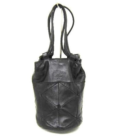 SOLD OUT: 90s Vintage PRADA black nappa leather mini hobo bucket bag with triangle decorative stitches. Must have masterpiece.