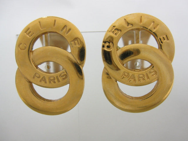 SOLD OUT: Vintage Celine Gold tone double round motif earrings. Great gift for holiday