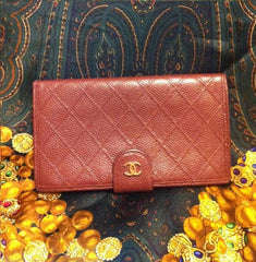 SOLD OUT: Vintage CHANEL wine brown caviar wallet with gold tone CC motif. Rare color you must get.