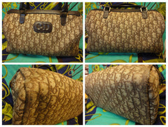 70's vintage Christian Dior brown trotter jacquard handbag with the CD. ECLAIR zippers. classic mini speedy duffle