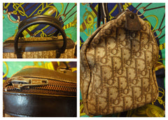 70's vintage Christian Dior brown trotter jacquard handbag with the CD motif. Modele Exclusif. ECLAIR zippers. Classic mini speedy duffle