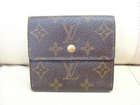 SOLD OUT: Vintage Louis Vuitton brown monogram and leather wallet Portefeuille. Compact but holds smart