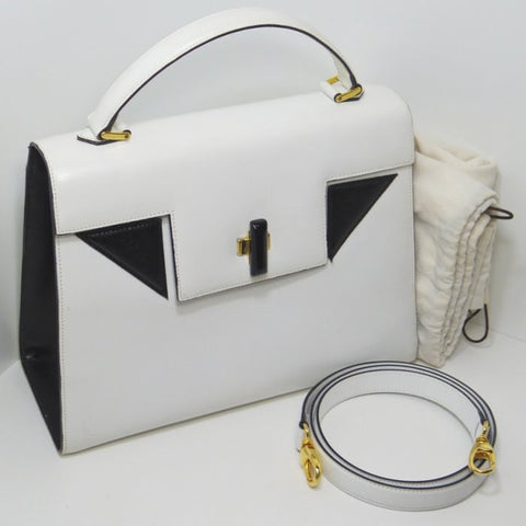 SOLD OUT: Vintage Bally Kelly style black and white purse with detachable strap. Masterpiece