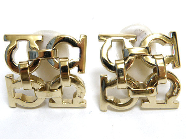 SOLD OUT: Vintage Salvatore Ferragamo gold tone gancini earrings. Great vintage gift