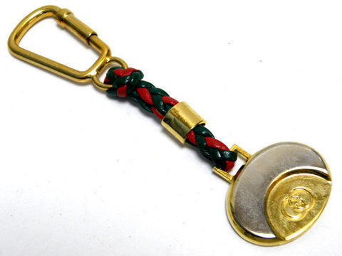 SOLD OUT: Vintage Gucci red and green leather key chain holder with a golden embossed GG mark. Unisex use. Great gift