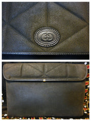 Vintage Gucci gray suede leather document clutch purse in geometric stitch design and embossed GG mark. A rare masterpiece for unisex use.