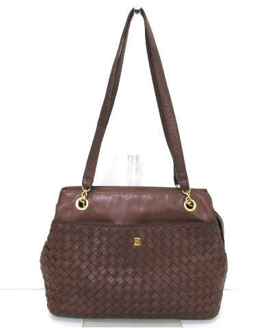 SOLD OUT: Vintage Bally brown intrecciato leather tote purse with golden B logo motif. Masterpiece back in the era.