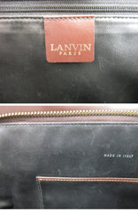 SOLD OUT: LANVIN 80's Vintage brown suede and smooth leather handbag with gold tone L shape hardware. Mod Bolide style