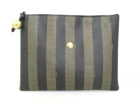 SOLD OUT: Vintage FENDI pecan stripe and logo motif document portfolio case purse. Vintage piece for unisex use.