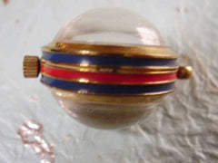 SOLD OUT: Vintage Gucci golden sphere watch pendant top for necklace with sherry line webbing line, blue and red. Best vintage gift from 80s. Unisex