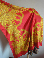 Vintage CHANEL red and gold color CC marks, charm, chain pattern large silk scarf. Gorgeous wrapping.