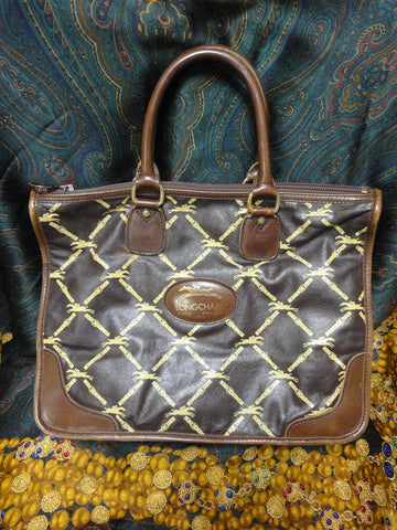 80's Vintage Longchamp brown nappa leather monogram pattern tote bag. Classic purse for unisex and daily use.