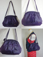 Vintage BALLY deep purple, violet calfskin pouch, clutch style shoulder bag with golden B charm and braided kiss lock closure. Unique design