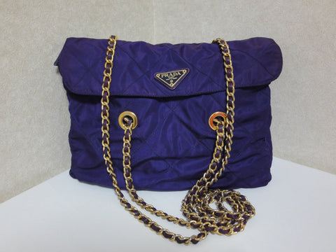 SOLD OUT: Vintage PRADA classic quilted nylon purple shoulder tote bag with gold tone chain long handles. Must have.