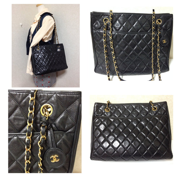 20eb80ca95 Vintage CHANEL black quilted lambskin classic tote bag with gold tone  chains and CC charm. Classic purse.