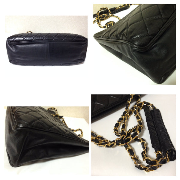 5744bf6311617 Vintage CHANEL black quilted lambskin classic tote bag with gold tone chains  and CC charm.