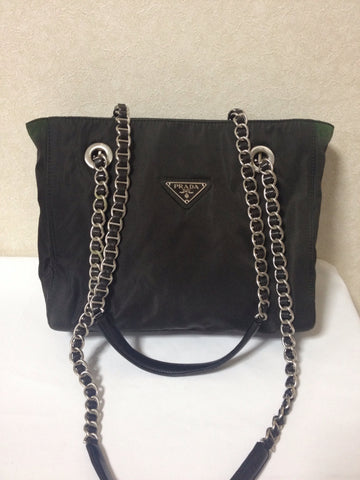 SOLD OUT: Vintage Prada dark brown nylon shoulder tote bag with silver tone chain and leather handles. Classic must have bag.