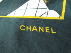 Vintage CHANEL dark green and white supermodel and 2.55 bag print pattern large silk scarf. Gorgeous foulard.