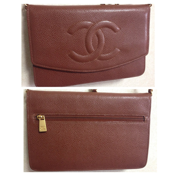 e17257c5c3b4 Vintage CHANEL brown caviar leather shoulder clutch bag with golden chain  and stitch mark ...