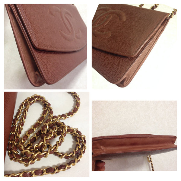 Vintage CHANEL brown caviar leather shoulder clutch bag with golden chain  and stitch mark ... cc864c9141731