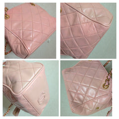 Vintage CHANEL rare milky pink lambskin golden chain mini bag with golden logo charm and zipper pull. Cute party purse.