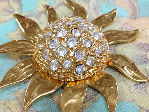 MINT. Vintage Yves Saint Laurent Swarovski crystal stone all over sun flower pin brooch with YSL mark. Made in France. Hat, scarf, jacket