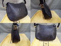 SOLD OUT: MINT. Vintage FENDI black epi leather classic shoulder bag with FF logo stitch motif. Perfect daily use bag