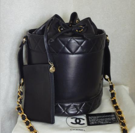 5d17ed98f65d0a Vintage CHANEL black lambskin bucket hobo drum shoulder bag with golden  chain strap and