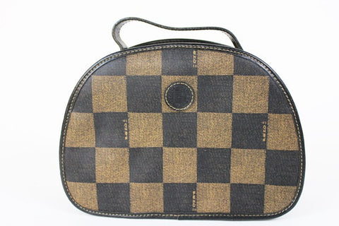 696d80a081 Vintage FENDI pecan chess pattern large vanity cosmetic and toilet purse