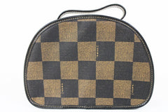 Vintage FENDI pecan chess pattern large vanity cosmetic and toilet purse, Fendi classic style handbag that never goes out of style.