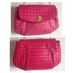 Vintage Bottega Veneta intrecciato woven leather purse in hot pink with unique opening closure motif. One of a kind