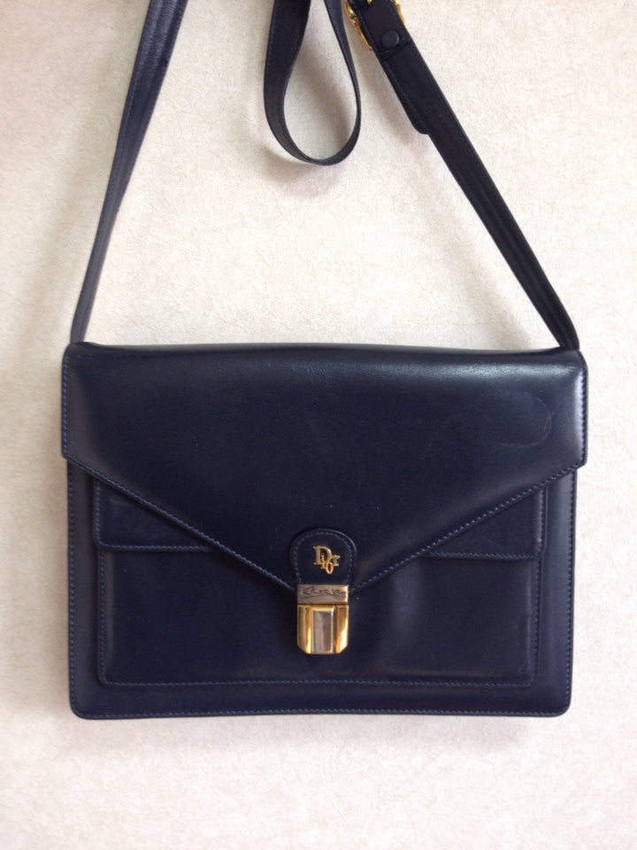 SOLD OUT: Vintage Christian Dior navy leather clutch purse, double flap envelop style shoulder bag with golden closure hock