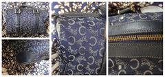 SOLD OUT: 70s 80s Vintage Celine navy jacquard purse with logo and leather trimming speedy duffle bag. Unisex use.