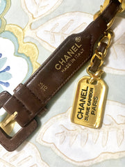 "Vintage CHANEL brown leather chain belt with golden hanging square logo charm. Classic belt. Size 74-78cm, 29"", 29.5"", 30"", 30.5""."