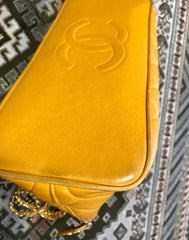 Vintage Chanel yellow caviar leather chain shoulder bag with CC stitch mark. Lucky and good fortune color. Classic purse.