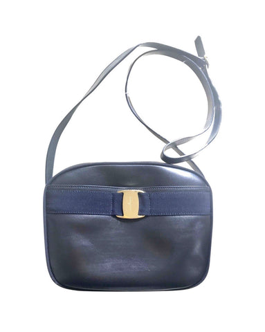 Vintage Salvatore Ferragamo dark navy leather shoulder bag with golden logo embossed motif from vara collection. Classic purse.