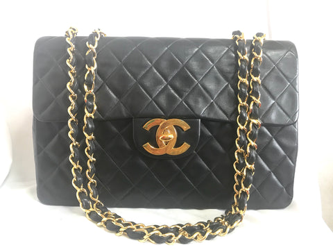 5531483c047f Reserved for B. Vintage CHANEL black lamb leather large, jumbo , classic  flap shoulder