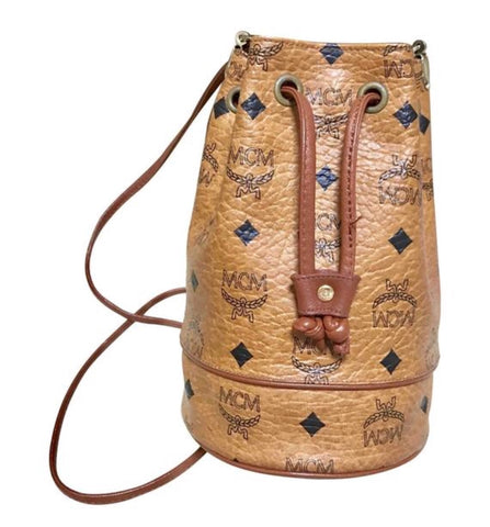 Vintage MCM brown monogram small hobo bucket bag. mini purse. Made in Germany. Designed by Michael Cromer.