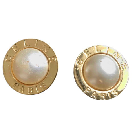 Vintage Celine golden round frame faux pearl earrings. Classic jewelry piece back in the era.
